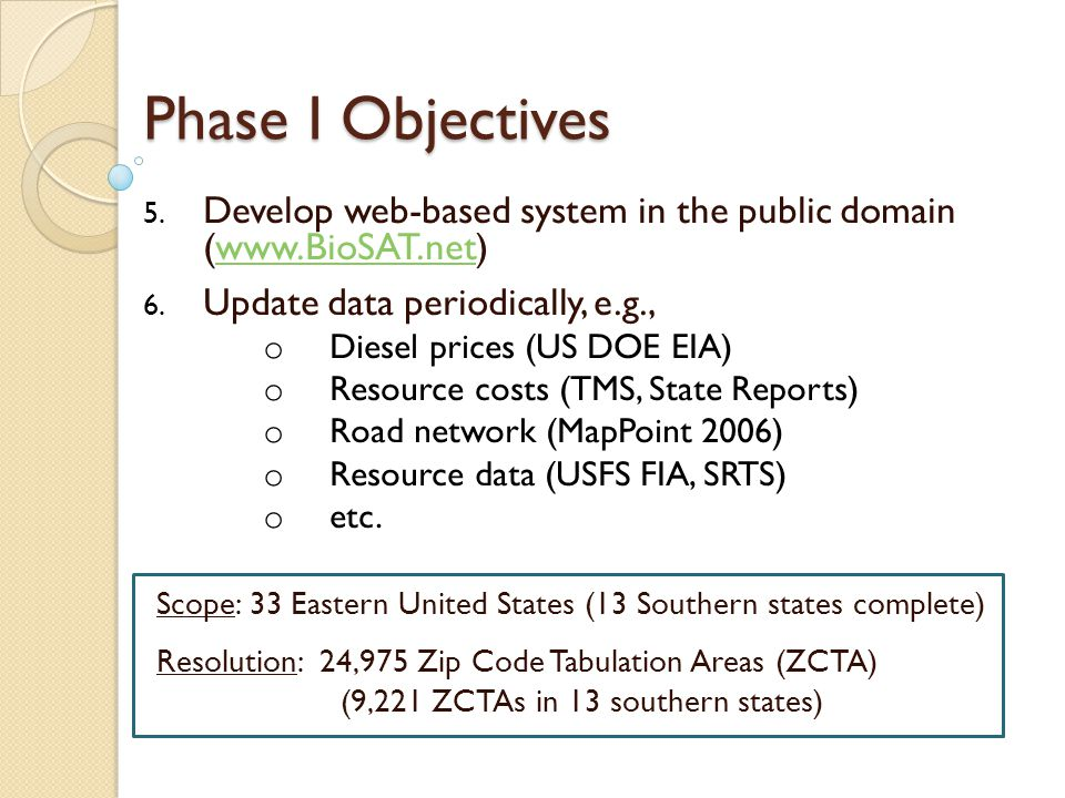 Phase I Objectives 5.