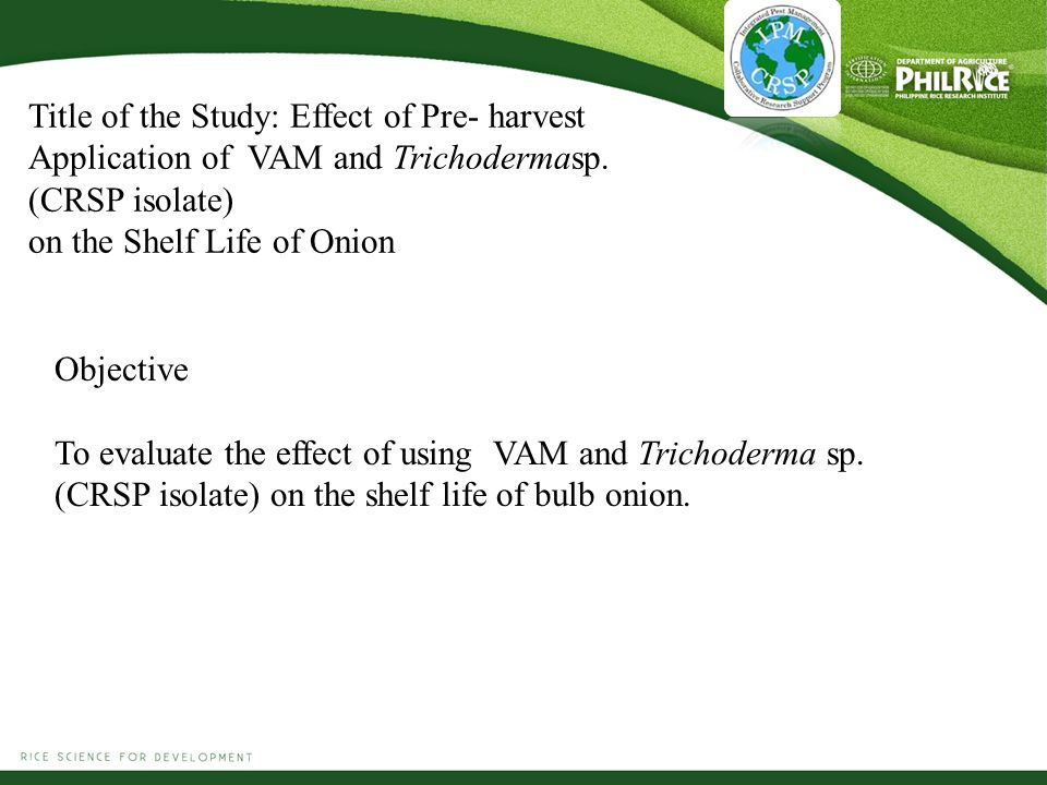 Title of the Study: Effect of Pre- harvest Application of VAM and Trichodermasp.