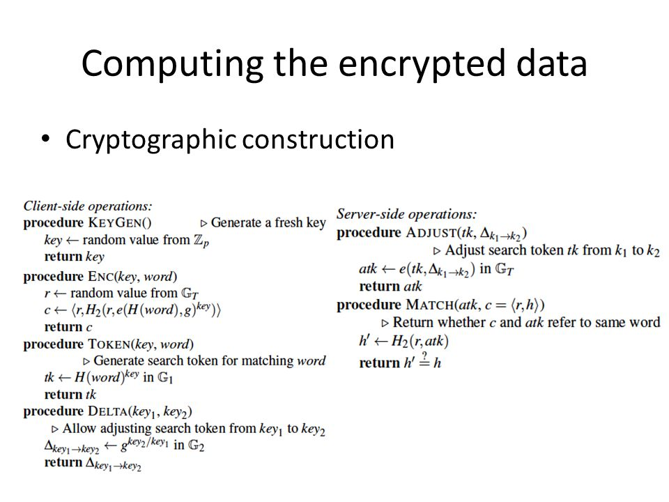 Computing the encrypted data Cryptographic construction