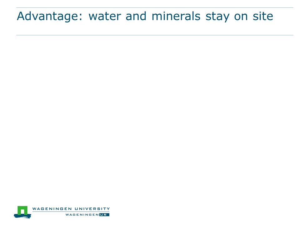 Advantage: water and minerals stay on site