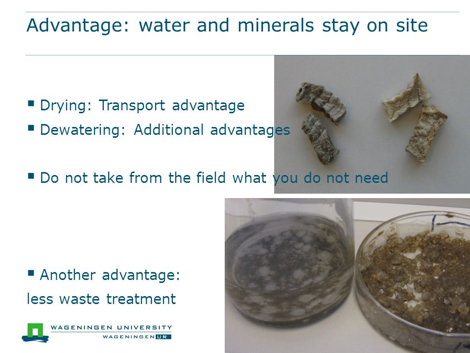  Drying: Transport advantage  Dewatering: Additional advantages  Do not take from the field what you do not need  Another advantage: less waste treatment