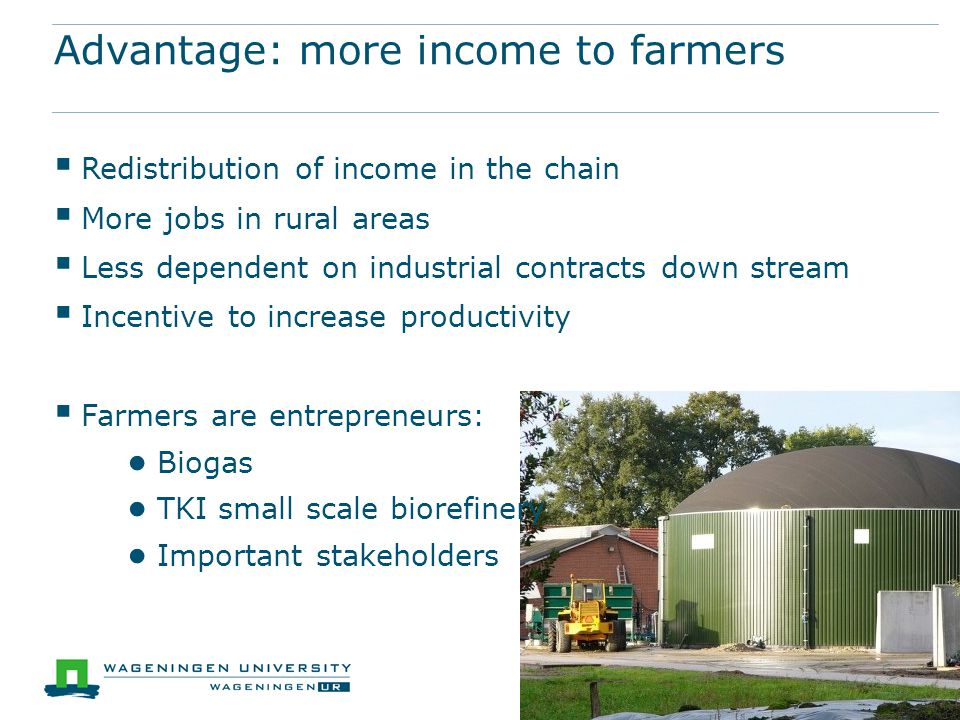 Advantage: more income to farmers  Redistribution of income in the chain  More jobs in rural areas  Less dependent on industrial contracts down stream  Incentive to increase productivity  Farmers are entrepreneurs: ● Biogas ● TKI small scale biorefinery ● Important stakeholders