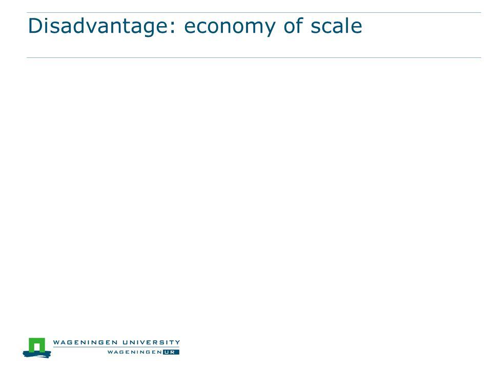 Disadvantage: economy of scale