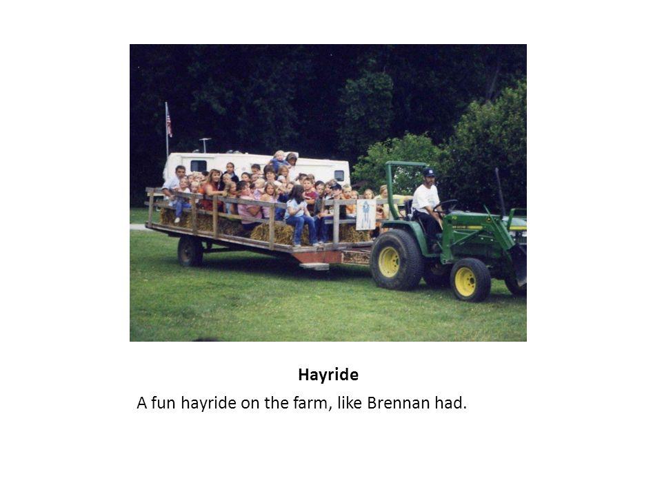 Hayride A fun hayride on the farm, like Brennan had.