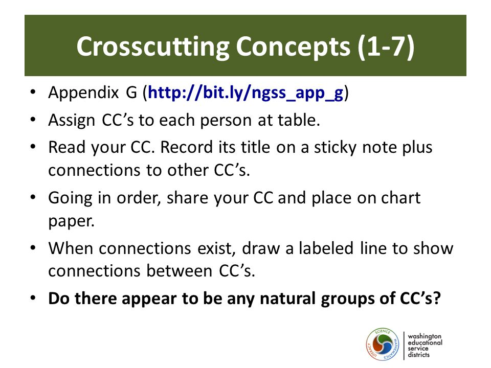 Crosscutting Concepts (1-7) Appendix G (http://bit.ly/ngss_app_g) Assign CC's to each person at table.