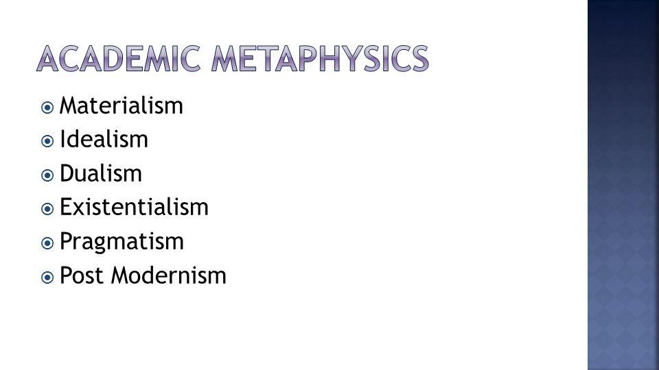  Materialism  Idealism  Dualism  Existentialism  Pragmatism  Post Modernism