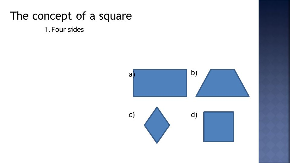 The concept of a square 1.Four sides a) b) c)d)