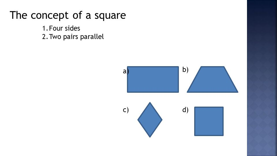 The concept of a square 1.Four sides 2.Two pairs parallel a) b) c)d)