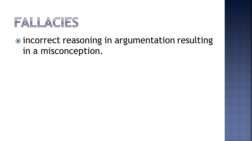  incorrect reasoning in argumentation resulting in a misconception.