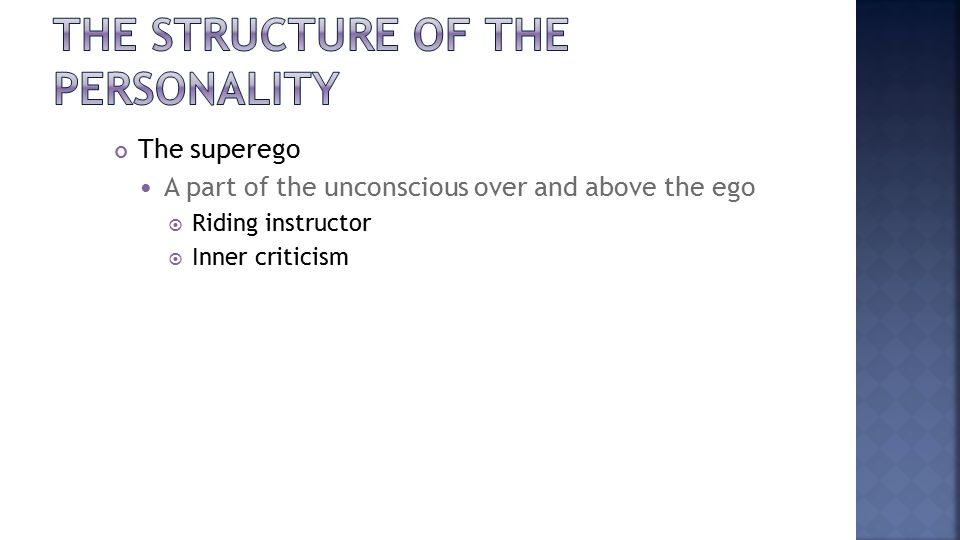 The superego A part of the unconscious over and above the ego  Riding instructor  Inner criticism