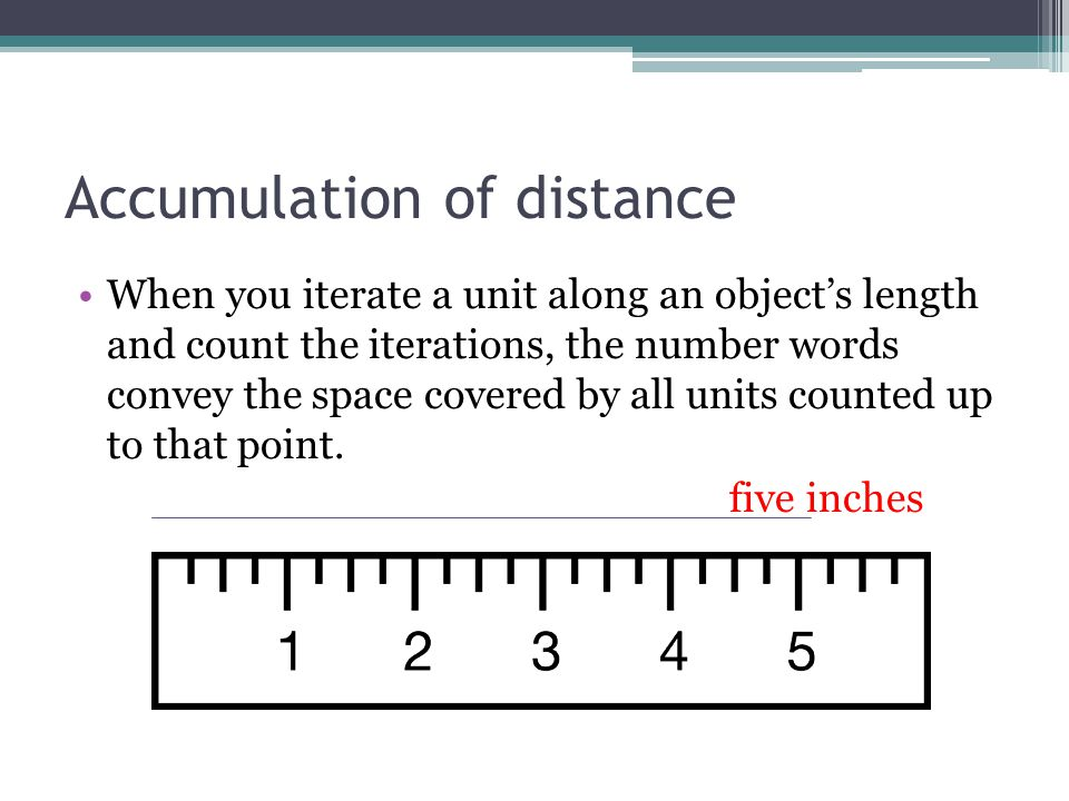 Accumulation of distance When you iterate a unit along an object's length and count the iterations, the number words convey the space covered by all u