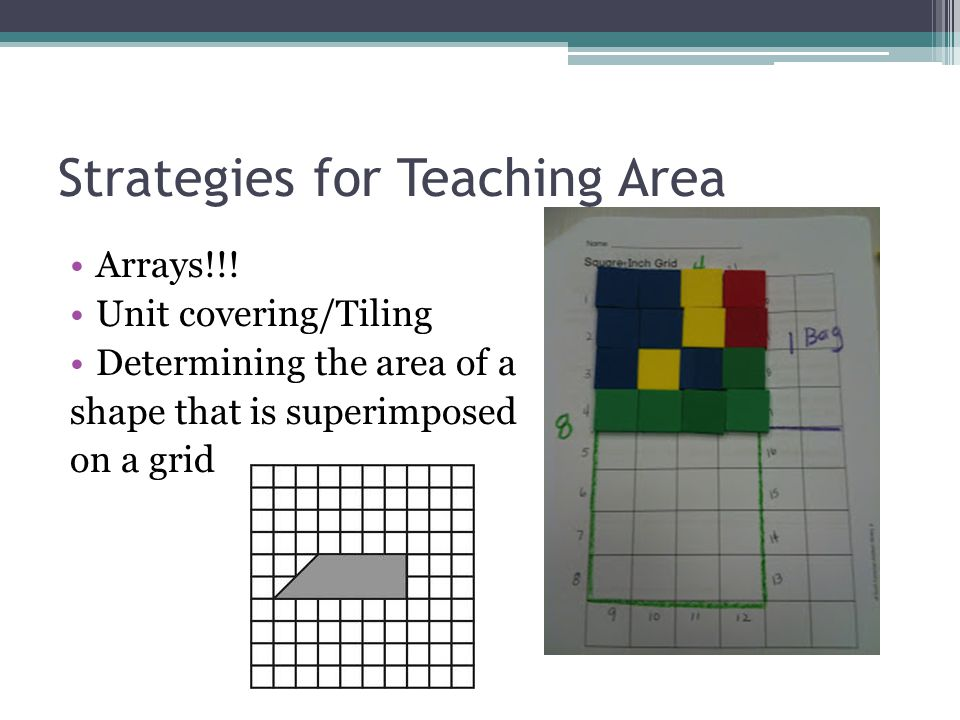 Strategies for Teaching Area Arrays!!! Unit covering/Tiling Determining the area of a shape that is superimposed on a grid