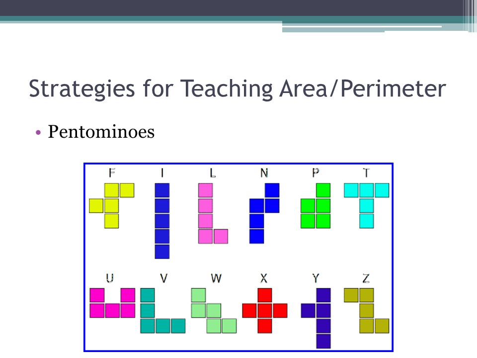 Strategies for Teaching Area/Perimeter Pentominoes