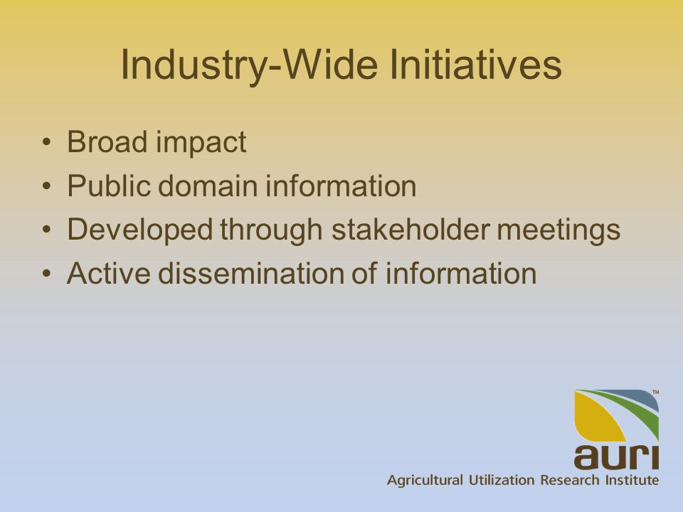 Industry-Wide Initiatives Broad impact Public domain information Developed through stakeholder meetings Active dissemination of information
