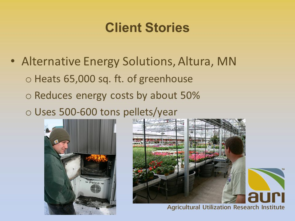 Alternative Energy Solutions, Altura, MN o Heats 65,000 sq.