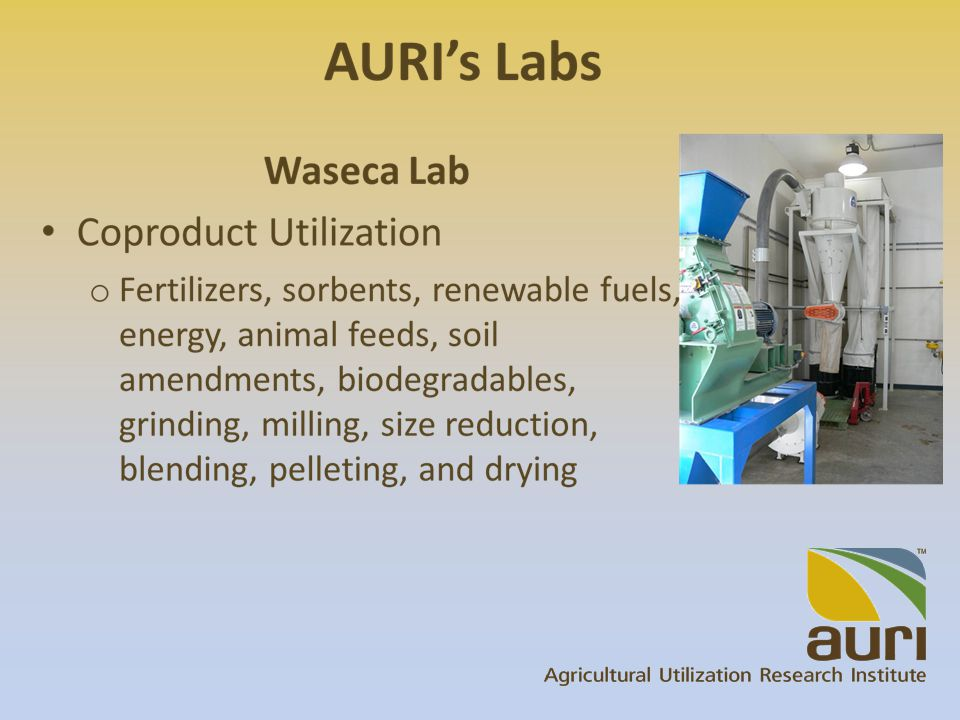 Who AURI Helps Existing businesses Agriprocessors Entrepreneurs Producer-owned cooperatives Partners/collaborators