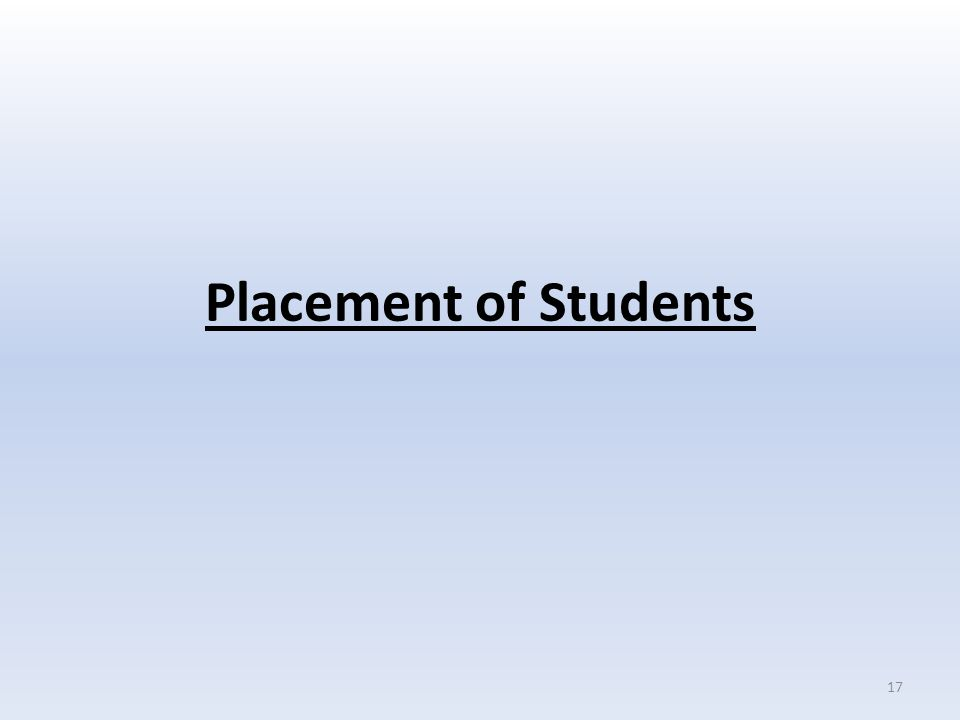 Placement of Students 17