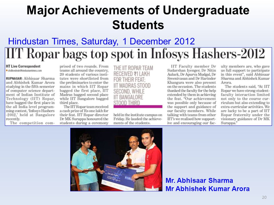 Major Achievements of Undergraduate Students 20 Hindustan Times, Saturday, 1 December 2012 Mr.