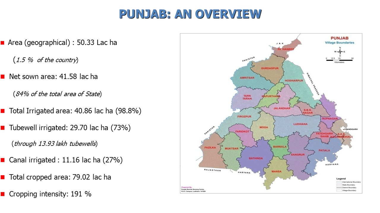 Area (geographical) : 50.33 Lac ha ( 1.5 % of the country) Net sown area: 41.58 lac ha (84% of the total area of State) Total Irrigated area: 40.86 lac ha (98.8%) Tubewell irrigated: 29.70 lac ha (73%) (through 13.93 lakh tubewells) Canal irrigated : 11.16 lac ha (27%) Total cropped area: 79.02 lac ha Cropping intensity: 191 % PUNJAB: AN OVERVIEW