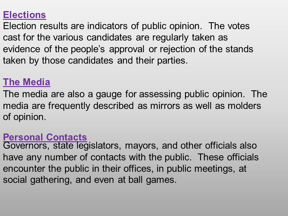Election results are indicators of public opinion. The votes cast for the various candidates are regularly taken as evidence of the people's approval