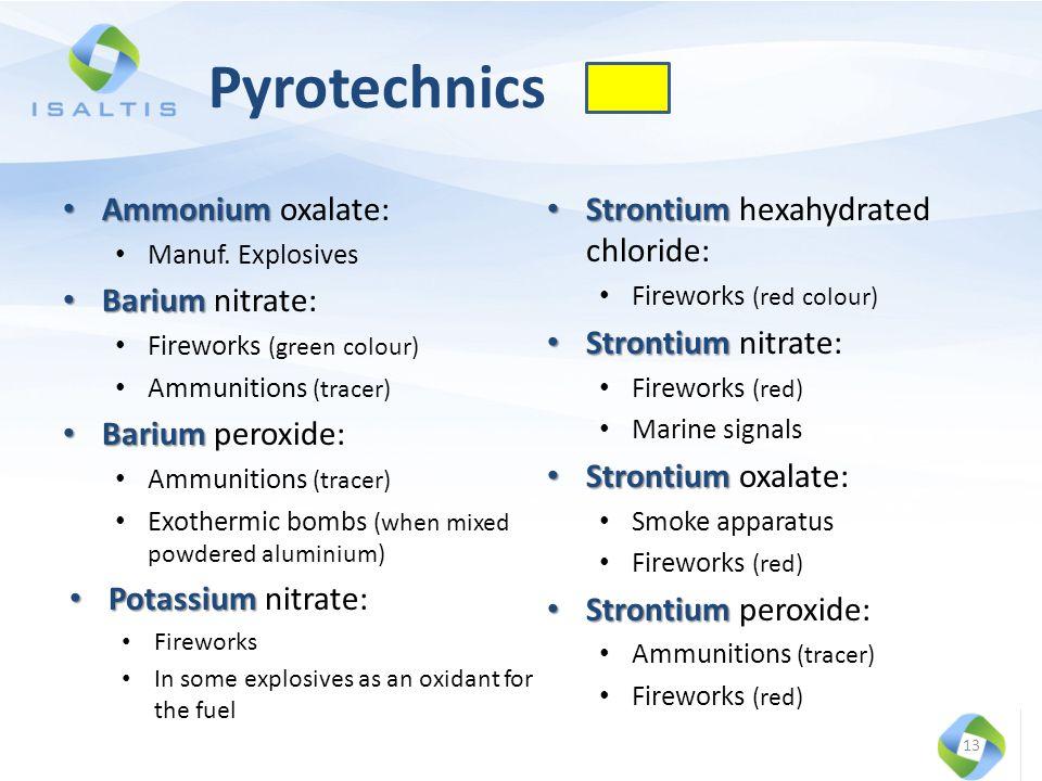 Pyrotechnics Ammonium Ammonium oxalate: Manuf. Explosives Barium Barium nitrate: Fireworks (green colour) Ammunitions (tracer) Barium Barium peroxide: