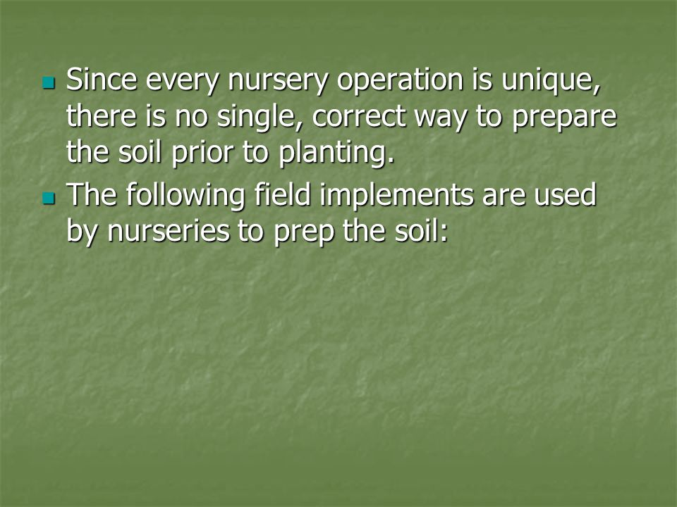 Since every nursery operation is unique, there is no single, correct way to prepare the soil prior to planting.
