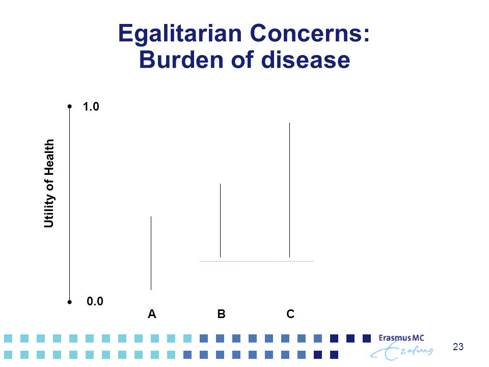 23 1.0 0.0 ABC Utility of Health Egalitarian Concerns: Burden of disease