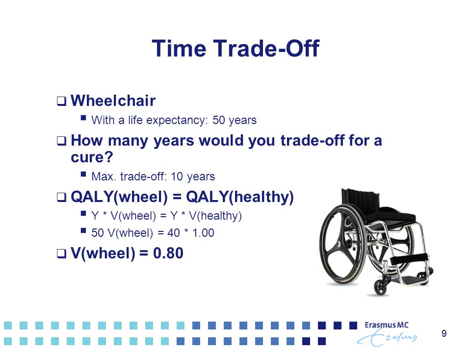 9 Time Trade-Off  Wheelchair  With a life expectancy: 50 years  How many years would you trade-off for a cure.
