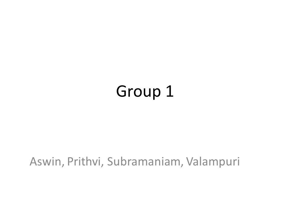 Group 1 Aswin, Prithvi, Subramaniam, Valampuri