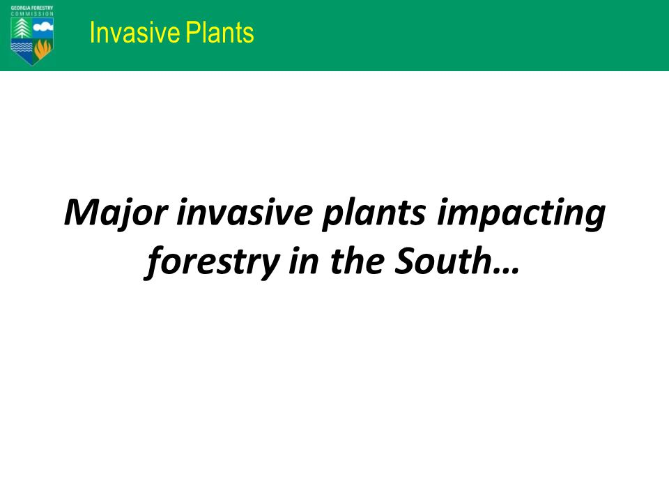 Invasive Plants Major invasive plants impacting forestry in the South…