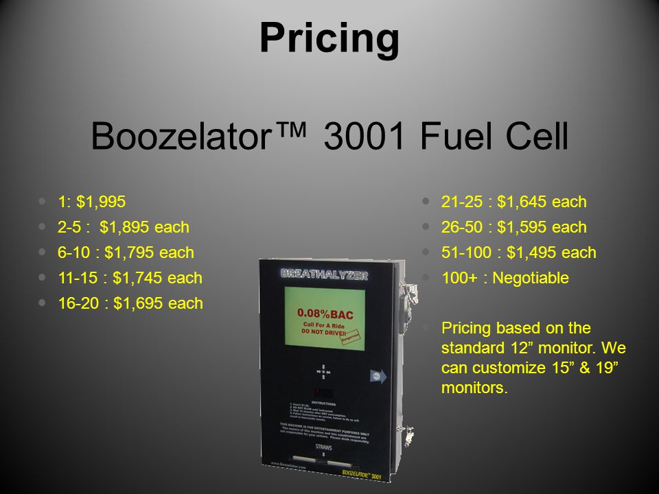 Pricing Boozelator™ 3001 Fuel Cell 1: $1,995 2-5 : $1,895 each 6-10 : $1,795 each 11-15 : $1,745 each 16-20 : $1,695 each 21-25 : $1,645 each 26-50 : $1,595 each 51-100 : $1,495 each 100+ : Negotiable Pricing based on the standard 12 monitor.