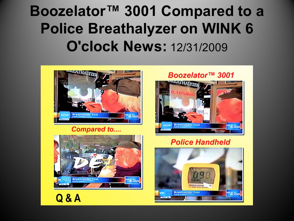 Boozelator™ 3001 Compared to a Police Breathalyzer on WINK 6 O clock News: 12/31/2009