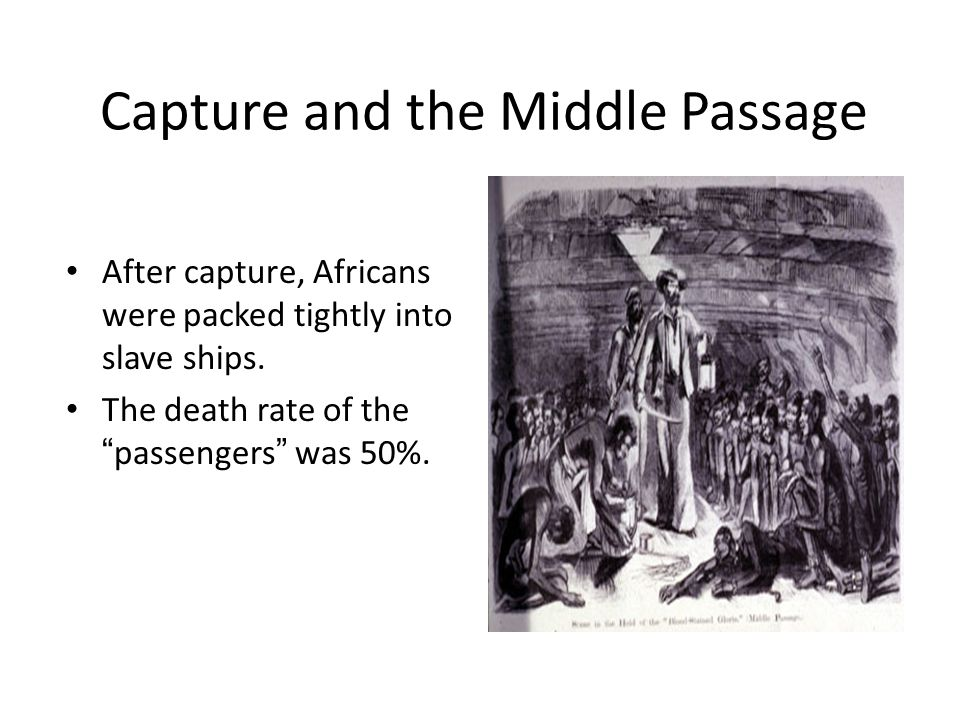 Capture and the Middle Passage After capture, Africans were packed tightly into slave ships.