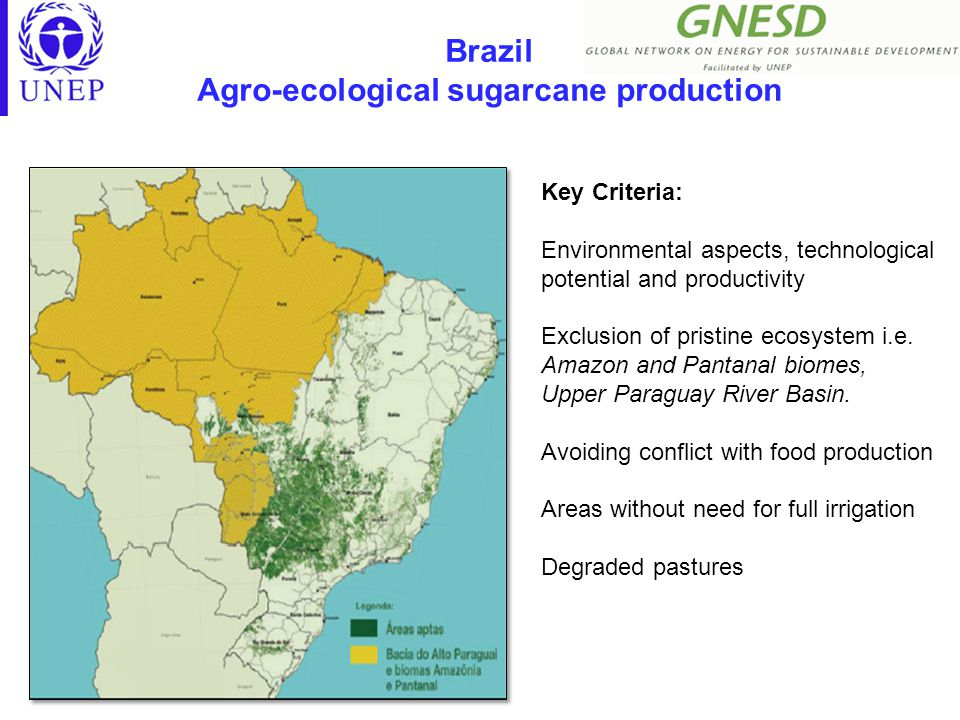 Brazil Agro-ecological sugarcane production Key Criteria: Environmental aspects, technological potential and productivity Exclusion of pristine ecosystem i.e.
