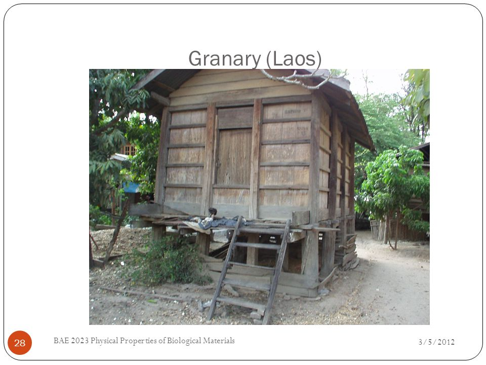 Granary (Laos) 3/5/2012 BAE 2023 Physical Properties of Biological Materials 28