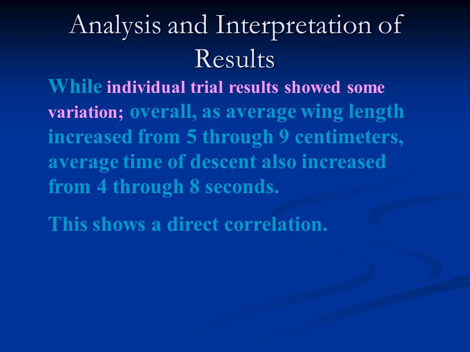 Analysis and Interpretation of Results While individual trial results showed some variation; overall, as average wing length increased from 5 through