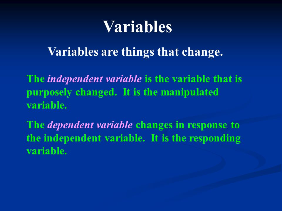 The independent variable is the variable that is purposely changed. It is the manipulated variable. The dependent variable changes in response to the