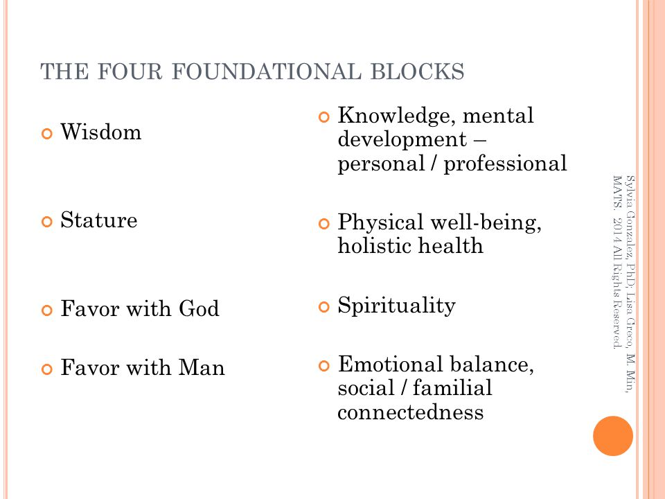 THE FOUR FOUNDATIONAL BLOCKS Wisdom Stature Favor with God Favor with Man Knowledge, mental development – personal / professional Physical well-being,