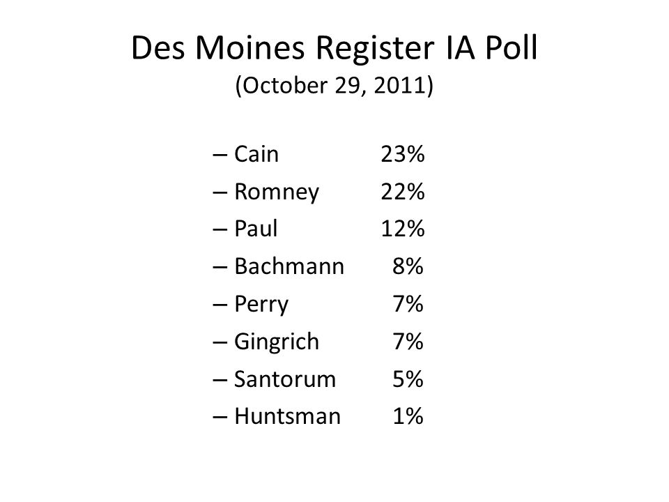 Des Moines Register IA Poll (October 29, 2011) – Cain 23% – Romney22% – Paul 12% – Bachmann 8% – Perry 7% – Gingrich 7% – Santorum 5% – Huntsman 1%