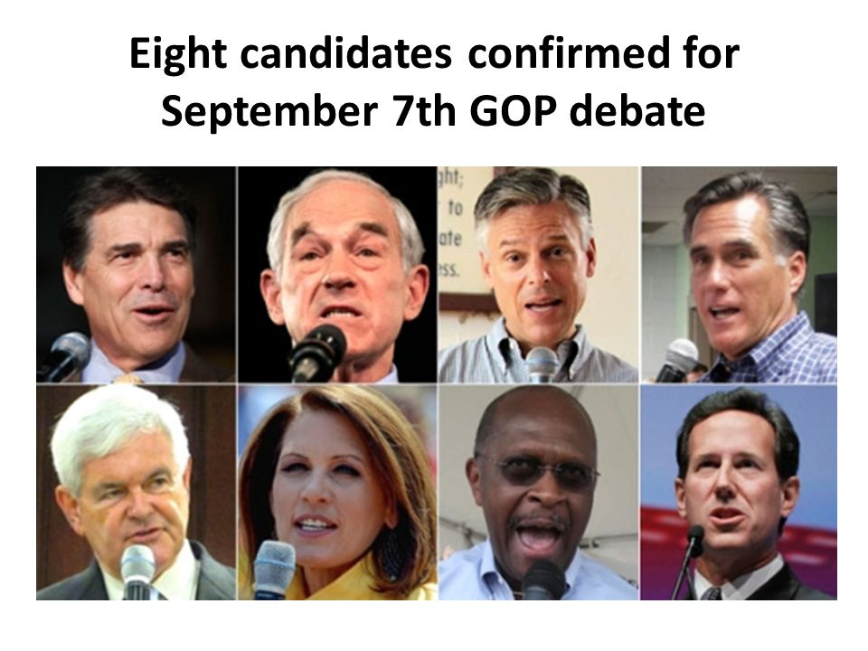 Eight candidates confirmed for September 7th GOP debate