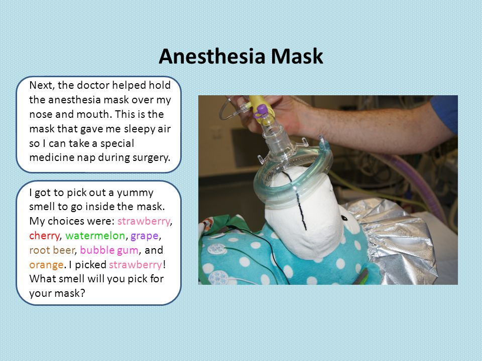 Next, the doctor helped hold the anesthesia mask over my nose and mouth.