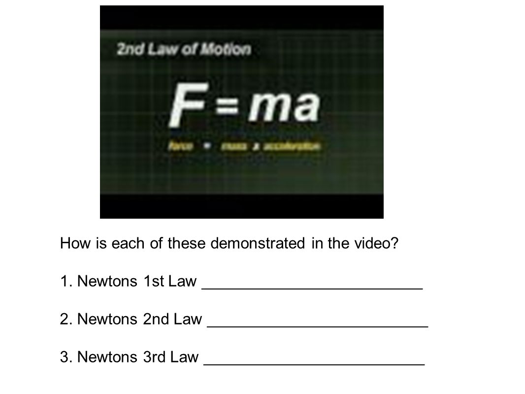 How is each of these demonstrated in the video? 1. Newtons 1st Law _________________________ 2. Newtons 2nd Law _________________________ 3. Newtons 3