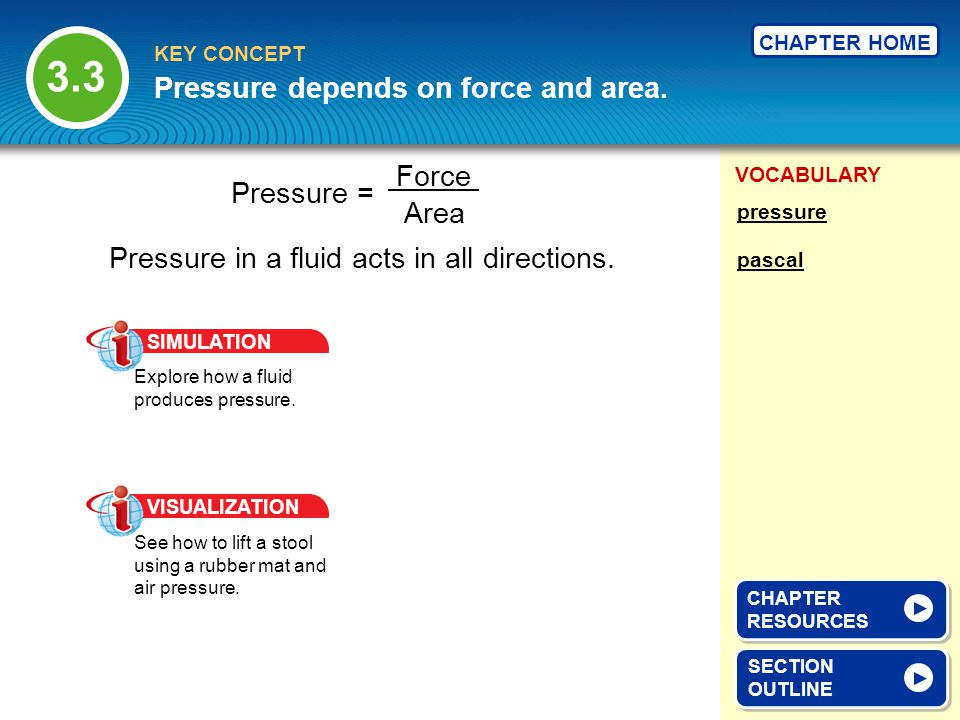 VOCABULARY KEY CONCEPT CHAPTER HOME Fluids can exert a force on objects.