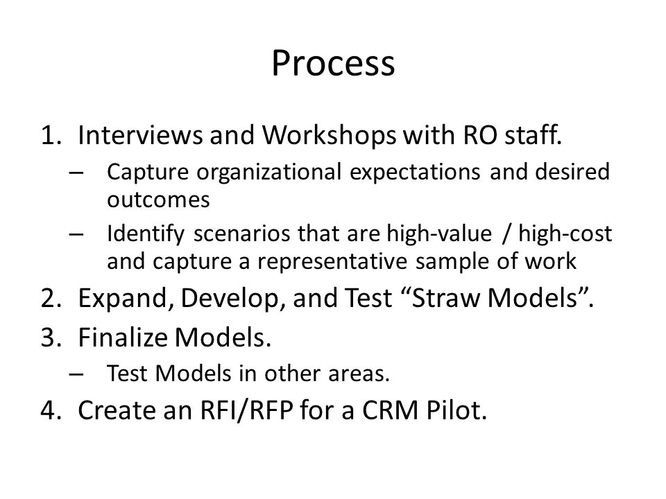 Process 1.Interviews and Workshops with RO staff.