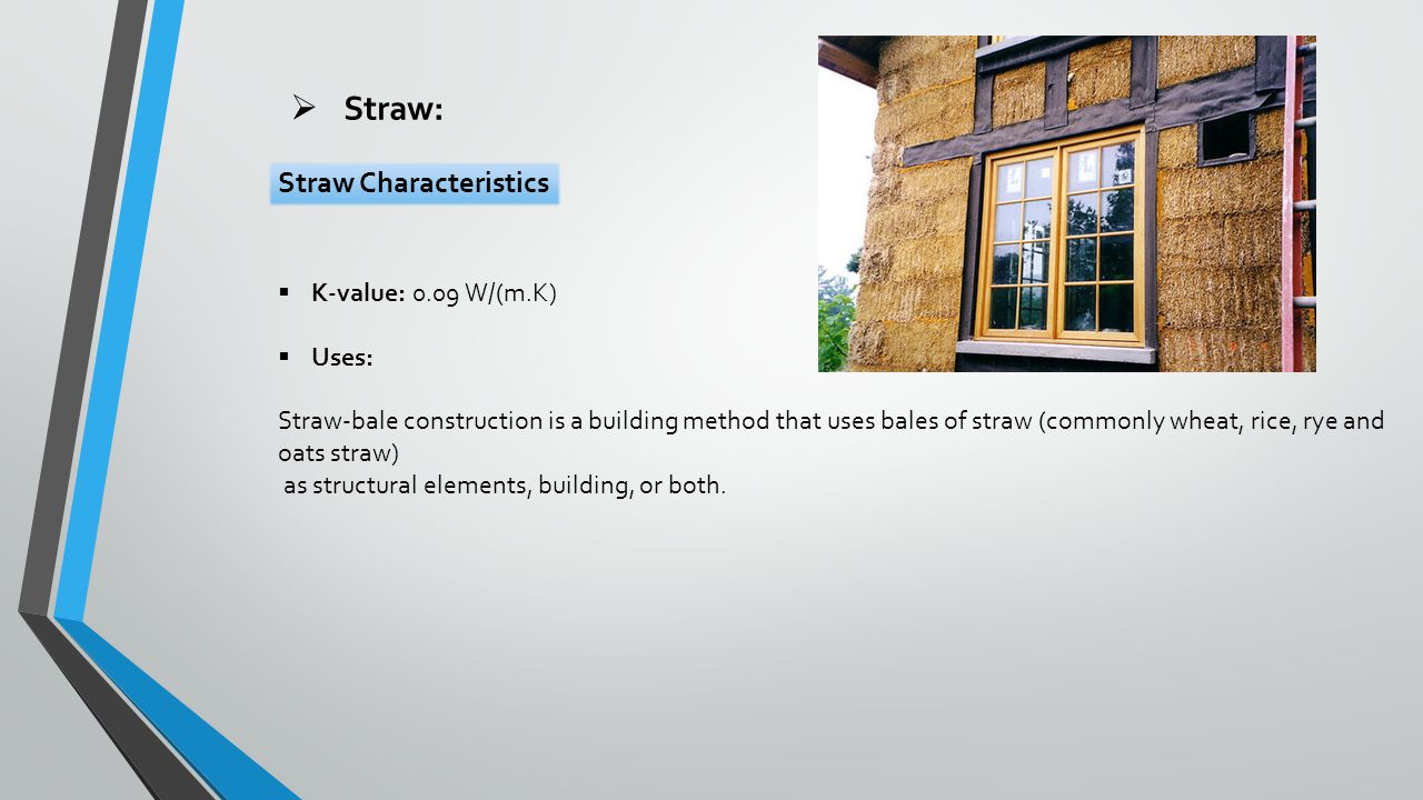  Straw:  K-value: 0.09 W/(m.K)  Uses: Straw-bale construction is a building method that uses bales of straw (commonly wheat, rice, rye and oats straw) as structural elements, building, or both.