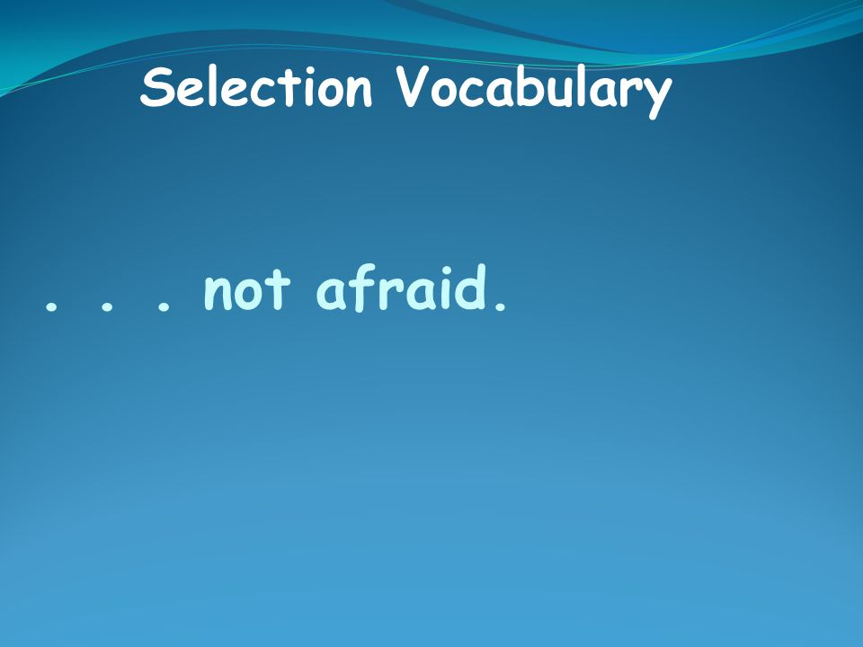 ... not afraid. Selection Vocabulary