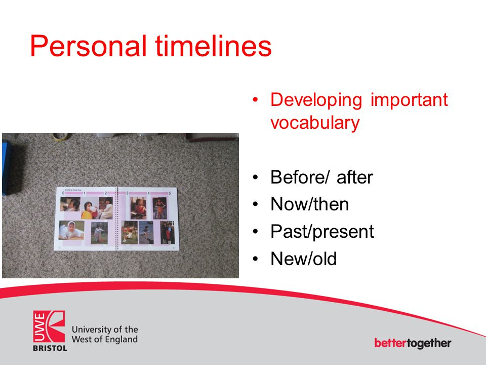 Personal timelines Developing important vocabulary Before/ after Now/then Past/present New/old