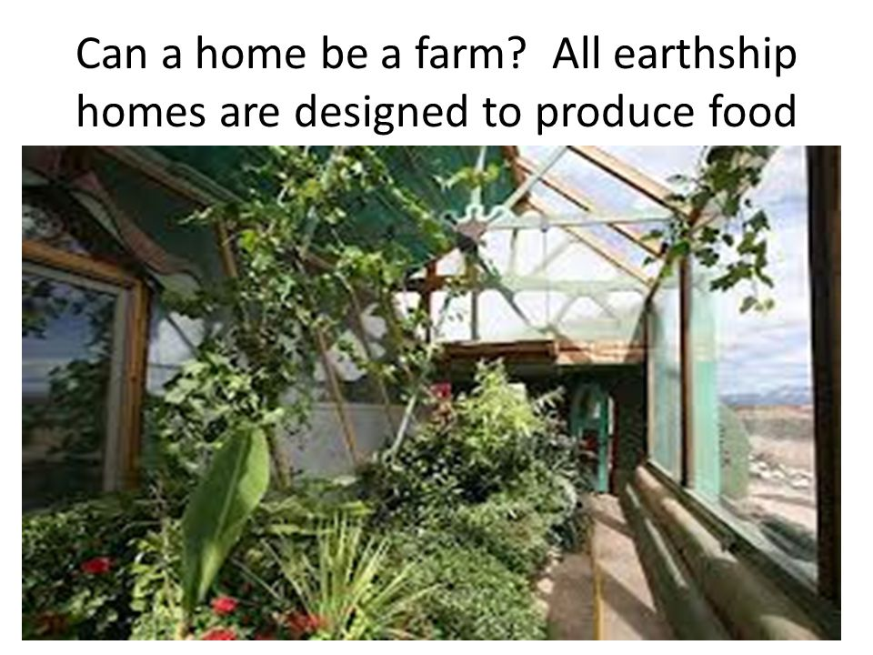 Can a home be a farm All earthship homes are designed to produce food