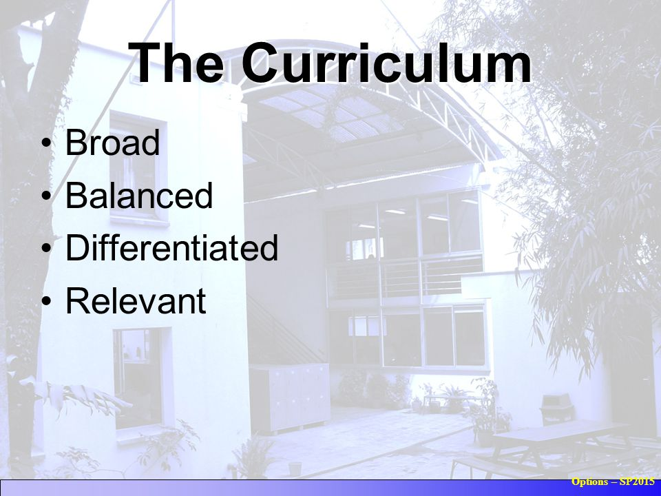 Options – SP2015 The Curriculum Broad Balanced Differentiated Relevant