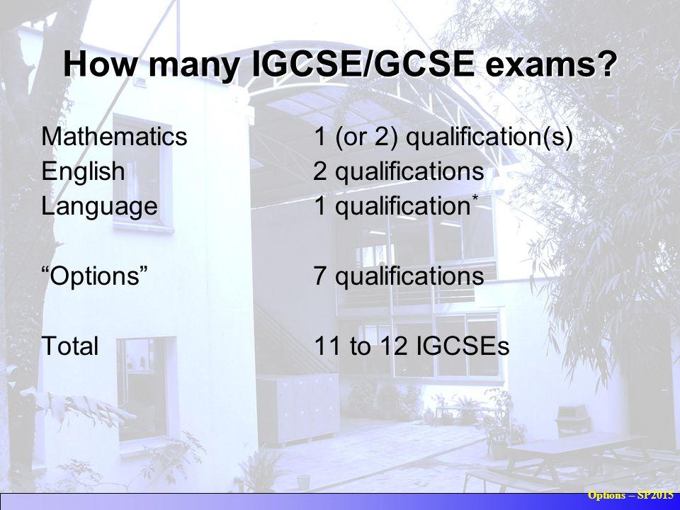 "Options – SP2015 How many IGCSE/GCSE exams? Mathematics1 (or 2) qualification(s) English2 qualifications Language1 qualification * ""Options"" 7 qualifi"